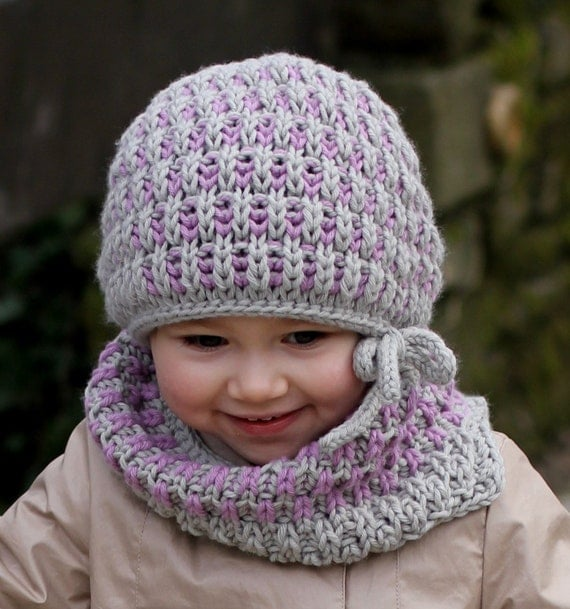 Knitting Pattern - Hat and Neck Warmer BRIOCHE SET ...