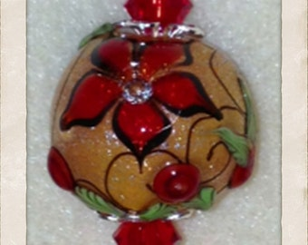 Sparkly Orange & Red Flower Bolly Pendant