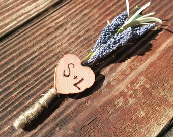 rustic boutineer, personalized burlap boutineer for wedding, lavender boutonniere