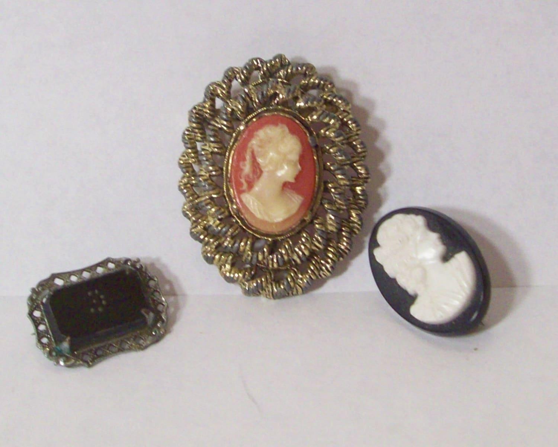 vintage antique cameo brooch pin lot gerrys ornate pendant