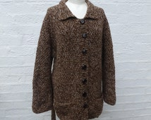 Jacket brown marl cardigan chunky top knitted cardigan wool clothing 80s handknit vintage cardigan ladies clothing wool jacket gift cardigan
