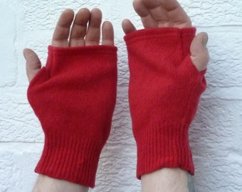 Mens gloves ladies fingerless mittens red wool handwarmers womens mittens winter gloves handmade large mittens mens eco gloves.