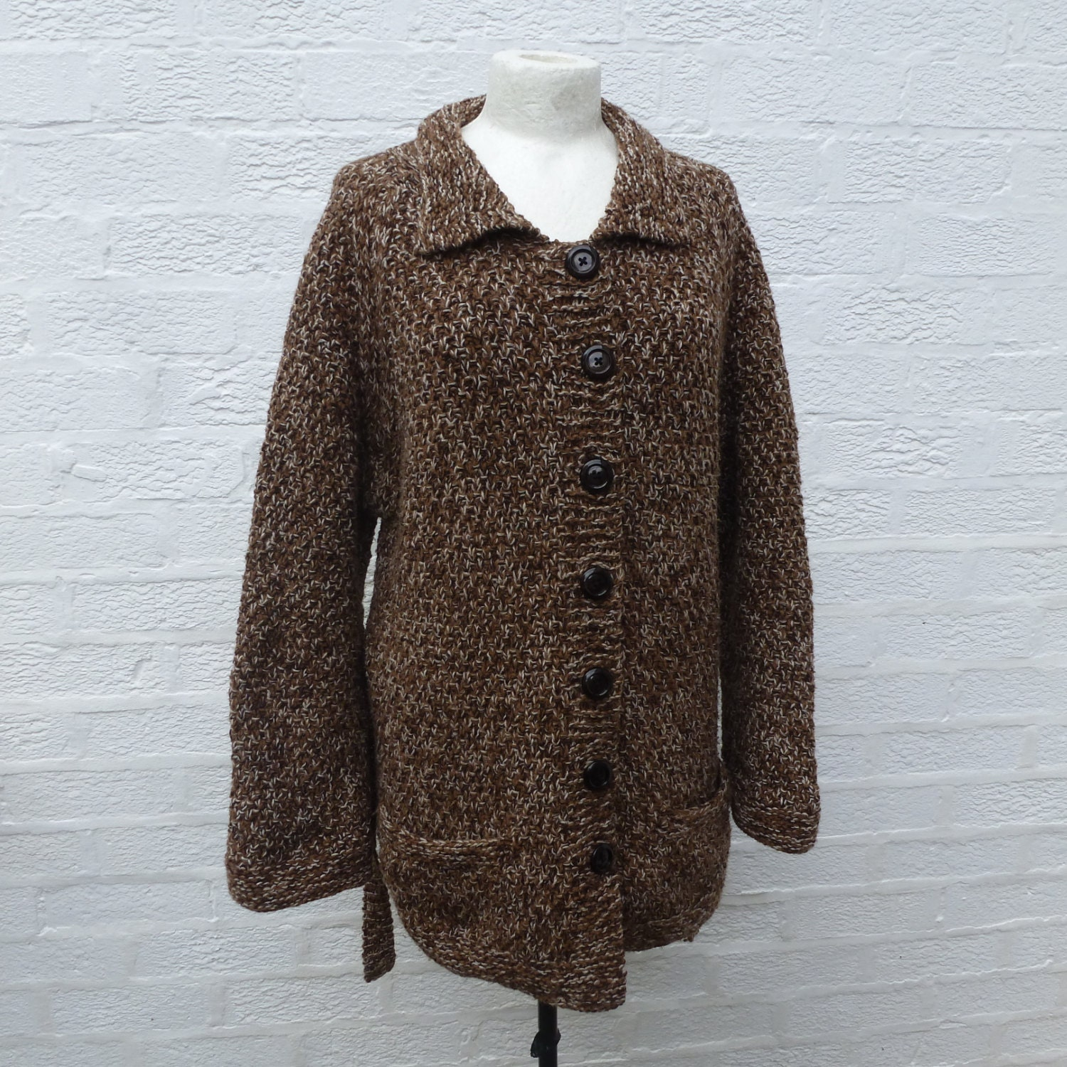 Vintage woodland brown marl cardigan Chunky women's