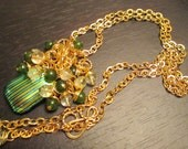 Unique Handpainted Gold and Teal Pendant with Emeralds and Iodalite in 18K Gold Vermeil Necklace