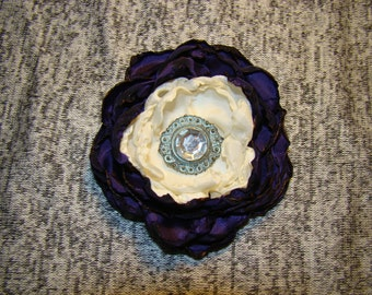 Easter White and Purple Satin  Fabric Flower with Vintage Style Button Center Broach wedding bridesmaid