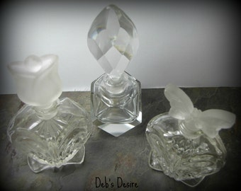 Vintage Glass Collectable Purfume Bottles Set of Three
