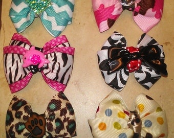 """2 for 8.00 - 2"""" Small Any Occasion Dog Bow"""