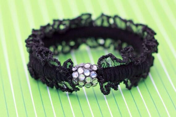 ... embellished hair scrunchie, black crochet rubber band,elastic hair tie