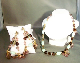 Mint Green and Purple Necklace and Earring Set