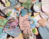 500 Vintage Atlas Map Heart Cutouts Assorted Confetti World Atlas Repurposed Wedding