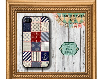 Nautical Anchor iPhone Case, Quilt iPhone Case, 4th of July iPhone Case, iPhone 5, 5s, 5c, iPhone 6, 6s, 6Plus, SE, iPhone 7, 7 Plus