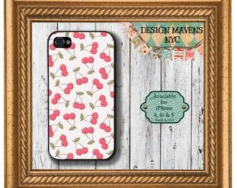 Cherries iPhone Case, Fruit iPhone Case, Pattern iPhone Case, iPhone 4, 4s, iPhone 5, 5s, 5c, iPhone 6, 6s, 6 Plus, SE, iPhone 7, 7 Plus