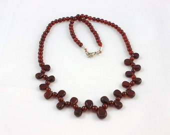 ON SALE - Genuine Garnet Teardrop  Necklace - Ready to Ship