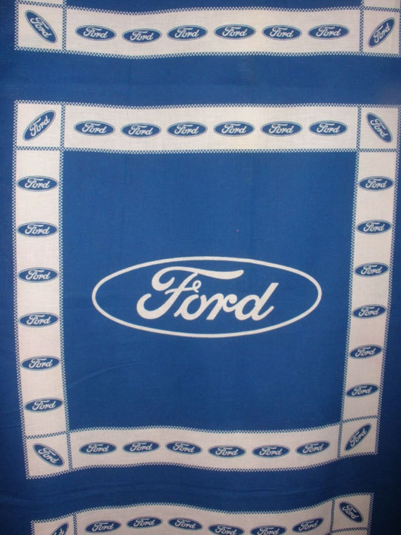 Ford Logo Fabric Quilt Blocks Pillow Panels Blue And White