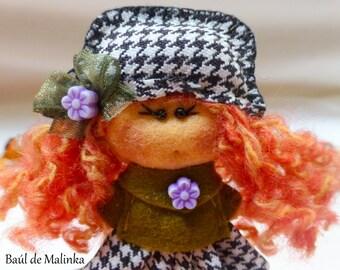 Felt brooch Green  Autumn, Felt doll, Fabric Brooch, Art Brooch, Wearable Art Jewelry, Autumn doll brooch,