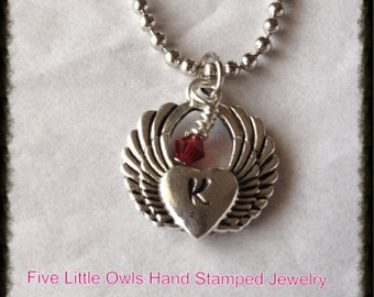 Hand Stamped heart with wings