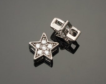 3003026 / Star / Black Plated Brass with Star with Cubic Zirconia Connector 7.5mm / 0.4g / 2pcs