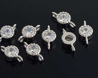 2031012 / Small Cubic Connector / Rhodium Plated Brass Framed Cubic Zirconia Connector 5mm x 10.3mm / 0.5g / 4pcs