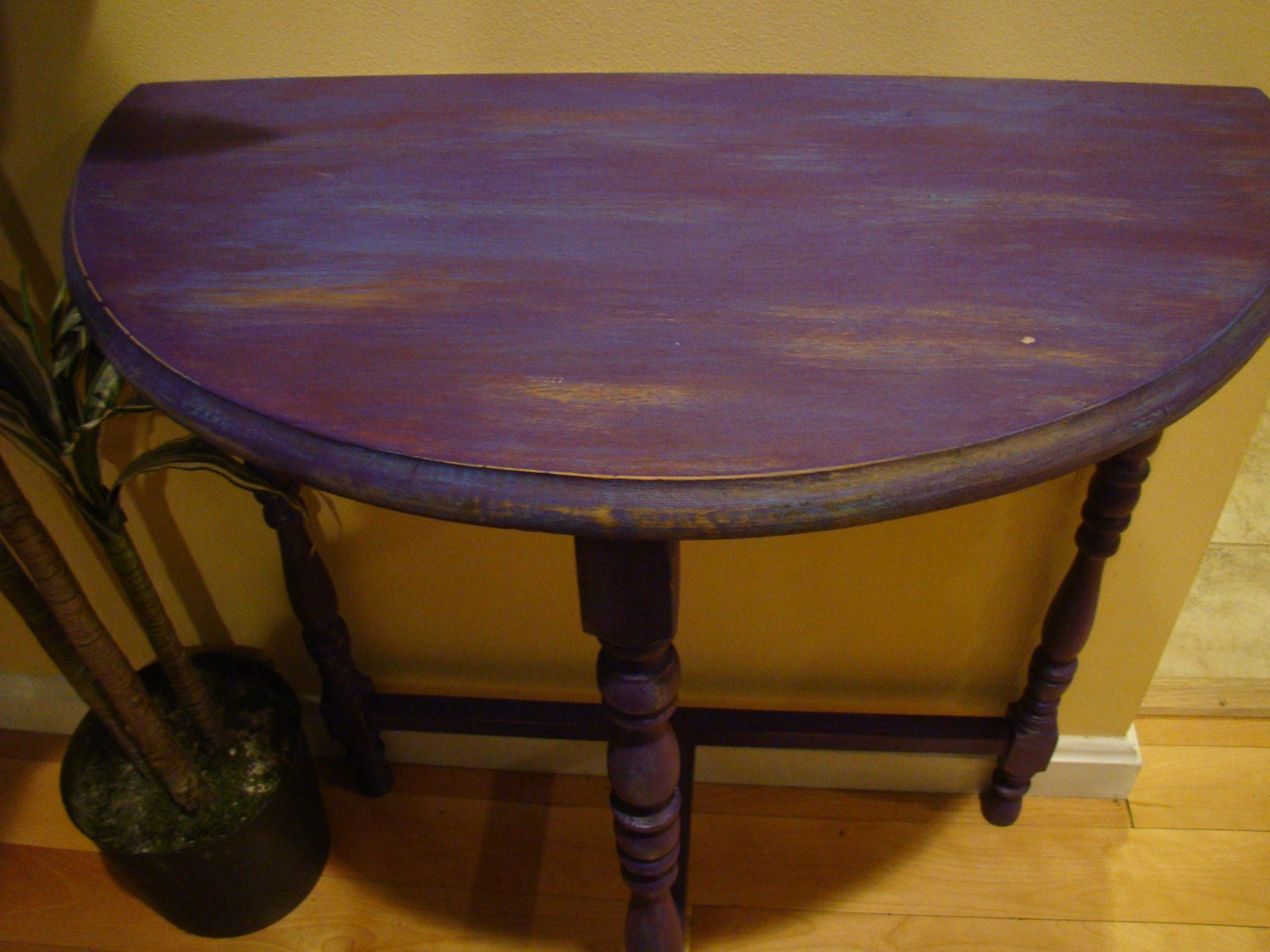 Antique Refinished Half Round Table Violet Purple And Teal