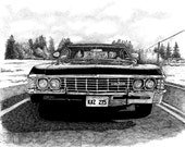 Back in Black, Supernatural Car, printable JPG file