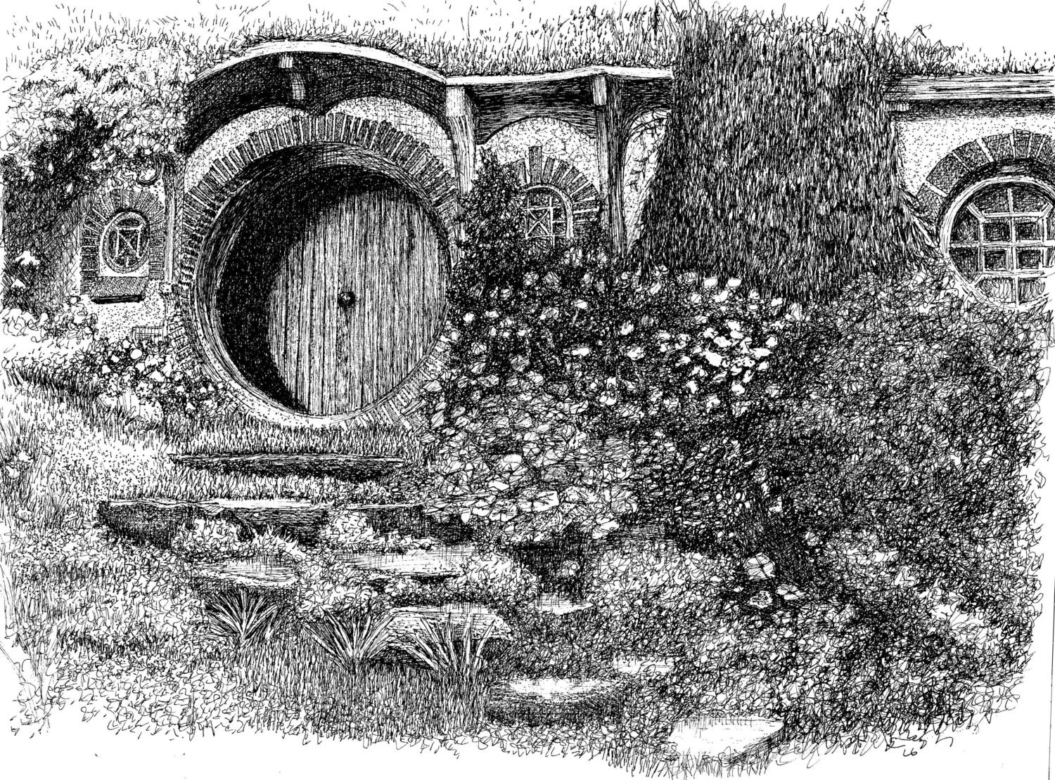 Bag End Pen And Ink Drawing An 8X10 Print By Skadoodled On