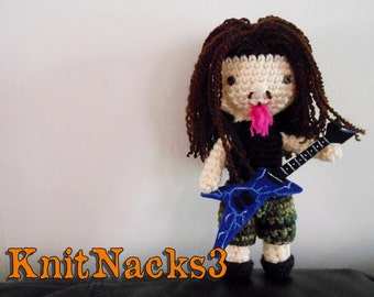Crochet Dimebag Darrell Pantera Doll with Felt Guitar
