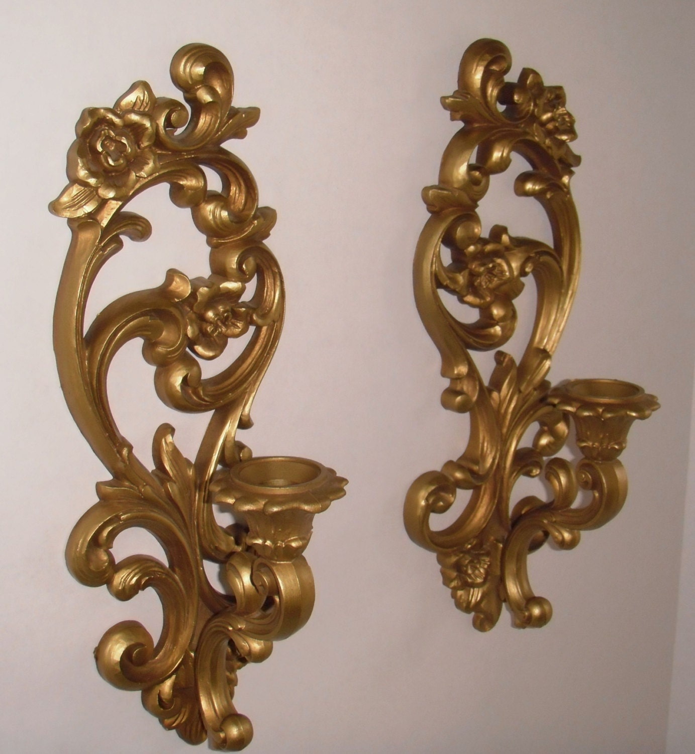 Gold Candle Wall Lights : Gold Tone Homco Wall Sconce Candle Holder Set 1971.