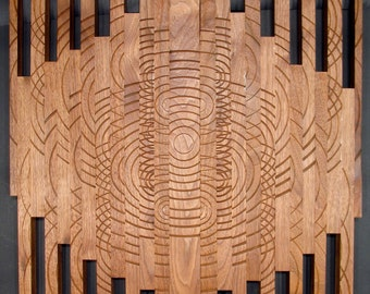 Sculpture Ripples, Turned wood, Lathe Sculpted Artwork, Wall Hanging, Wall Art