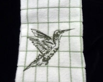 Embroidered Kitchen towel, Towel, dish towel, Embroidered Hummingbird towel, Decorative Kitchen towelGreen and White