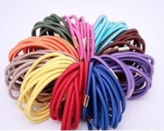 50 pcs of 3mm Assorted Colors Elastic Ponytail Holders Hair accessories Wholesale lots stretch Hair ties Annielov elastic Hair Ties