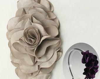 Satin Flower Motif Corsage Brooch for Headband, Hair Accessories, Hat, Hair Clips or more Accessories Handmade Annielov Flower08-beige
