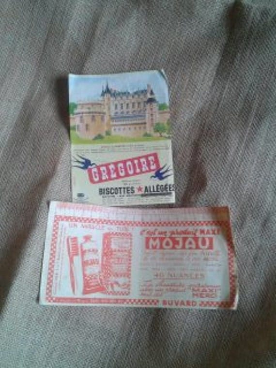 Castle Ad 2 Chromo French AD 1950's Blotting Paper Castle Amboise Story Crackers & Metric Paper Shoe Polish Collectible #sophieladydeparis