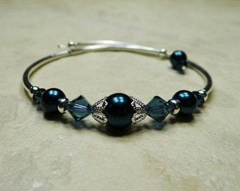 Wedding, Bridesmaid Bracelet, Memory Wire, Swarovski Crystal, Glass Pearl, Midnight Blue, Customizable