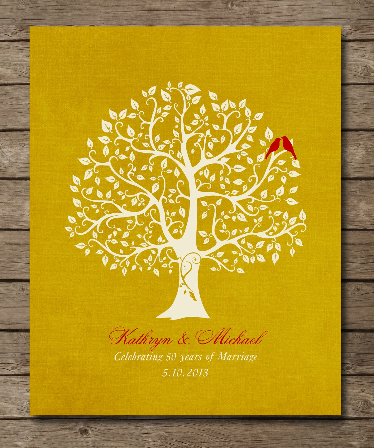Unique Gifts 50th Wedding Anniversary : 50th Wedding Anniversary Tree Gift Golden by WordsWorkPrints