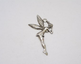3 PCs. metal pendant / charm / flying Elf / Fairy / Angel / antique silver tone / 28x48mm  A167