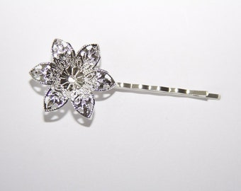 4 Piece Hair clips flower color: silver HK001