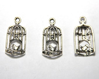 5 Pcs. metal pendant / charm bird cage / antique silver tone A050