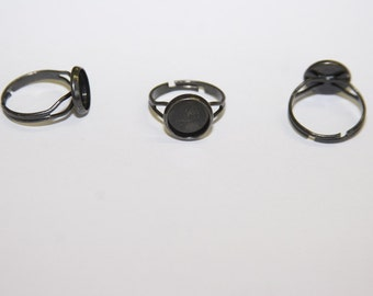 5 Pcs, bezel ring settings / blanks with tray / color black / 12mm , fits 10mm Cabochons R040
