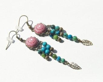 Vintage earrings with mosaic bead