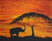 """Reserved for PETER - Elephant Original HAND PAINTED 16"""" x 20"""" acrylic on canvas Wall art"""