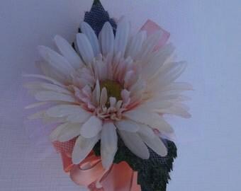 Gerber daisy corsage in peach