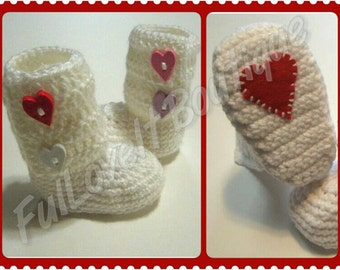 Infant/Toddler Crochet Heart Wrap Around Boots