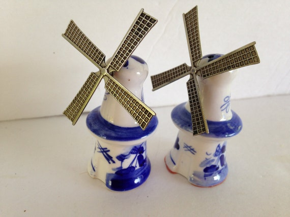 Delft Blue Windmill Salt And Pepper Shakers Porcelain And