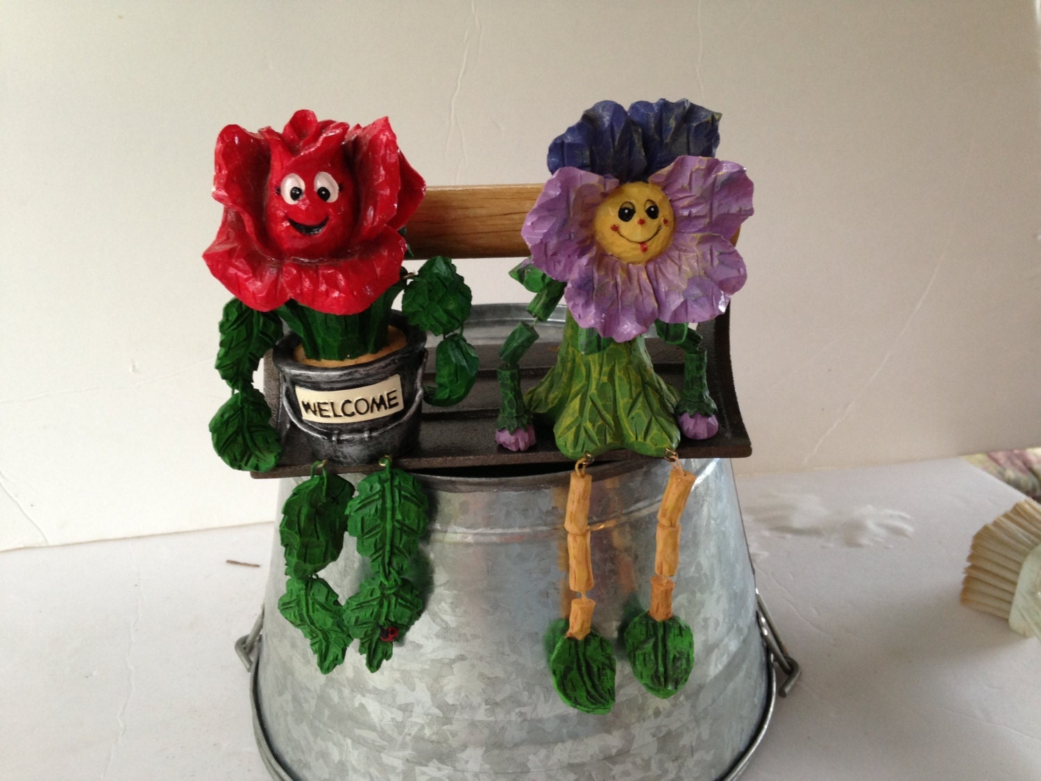 Flower Doll Shelf Sitters Pansy And Roseann Welcome Friends