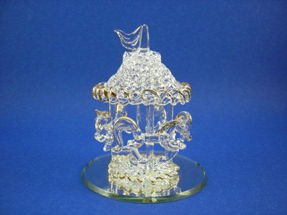 Vintage Art Glass Carousel Three Horse Figurine