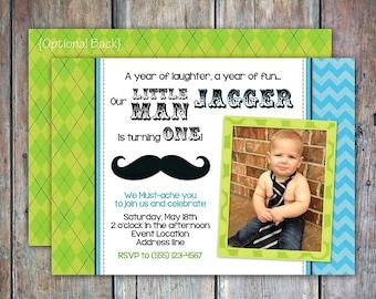 Little Man Mustache Birthday Invitation