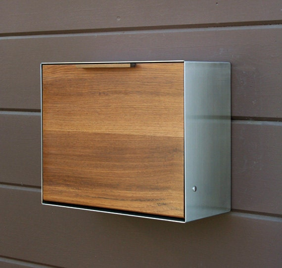 modern post mounted mailbox teak and stainless steel by. Black Bedroom Furniture Sets. Home Design Ideas