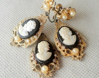 CLEARANCE SALE Vintage Cameo Set, Brooch, Earrings, Pendant, Faux Ivory and Pearls, Gold Tone