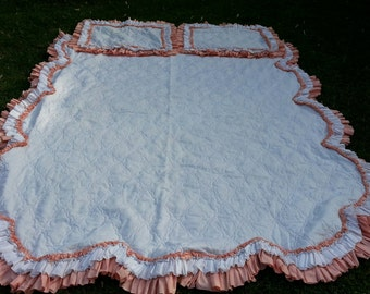 Vintage Peach and White Quilted and Triple Ruffled Girls Bedspread