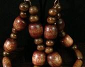 Dark wooden beaded hoop earrings